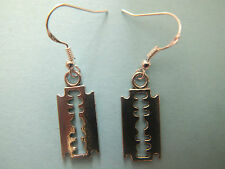 HANDMADE STERLING/TIBETAN SILVER  RAZOR BLADE EARRINGS PUNK EMO GOTH HALLOWEEN