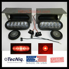 """6"""" Oval Clear/RED LED Trailer Truck Steel Tail Light Guard Box KIT marker light"""