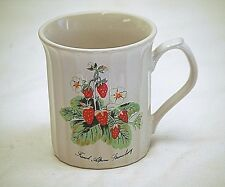 Classic Style Coffee Cup French Alpine Strawberry Scene w Ribbed Sides Sunny