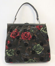 VINTAGE 1960s ROSENFELD FLORAL ROSES VELVET CARPET BAG LEATHER TRIM SATIN LINING