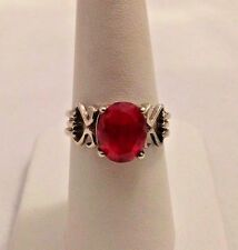STERLING SILVER & 2 CT PINK TOPAZ RING. SIZE 7.