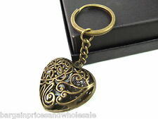 Vintage Antique Bronze Heart Flower Pattern Keyring Bag Charm Handbag Keychain