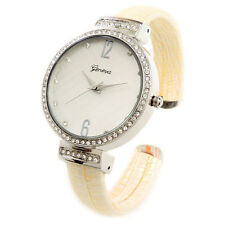 Beige Silver Shiny Snake Style Band Crystal Bezel Women's Cuff Watch