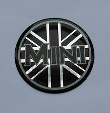 MINI UNION JACK Sticker/Decal - 42mm BLACK & CHROME HIGH GLOSS DOMED GEL FINISH