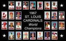 1967 St Louis Cardinals World Series Baseball Card Poster 17x11 Unique Art Decor