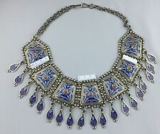 Silver Enamel Moroccan Huge Bib Necklace Blue Berber Ethnic Tribal Dangles 330 g