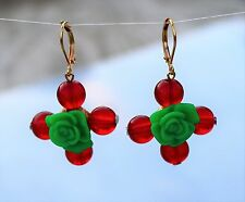 Red and green acrylix gold tone beaded maltese shape dangle pierced Earrings