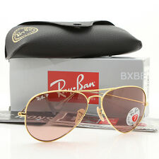 NEW AUTHENTIC RAY BAN AVIATOR RB3025 001/15 58MM POLARIZED PINK LENS GOLD FRAME
