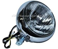 "7"" Motorcycle Crystal Headlight Light Housing Chrome Bucket Assembly Fits Harley"