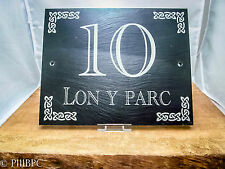Original Welsh Slate House Name sign '10 Lon Y Parc' Plaque Traditional Celtic