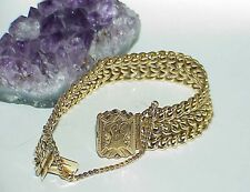 "Antique Victorian 14K Yellow Gold Wide Mesh Chain Link 7"" Bracelet JS 1910"