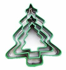 Christmas Tree pastry/cookie cutters SET OF 3 Stainless steel silicone coating