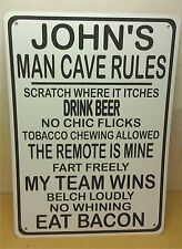 "Personalize This Man Cave Rules Beer Remote Bacon Fun Retro Vintage 10""x14"" Sign"