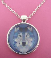 Wolf Triangle Design Silver Pendant Glass Necklace New in Gift Bag Animal