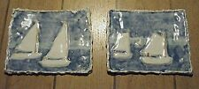 PAIR VTG MODERN BRUTALIST ART POTTERY SEASCAPE MARINE SAIL BOAT WALL PLAQUES 11""