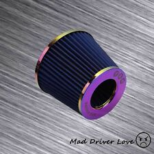 "3"" HIGH FLOW SHORT RAM COLD INLET ROUND CONE AIR FILTER NEO CHROME 2.5"" REDUCER"