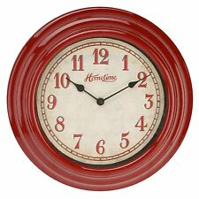 Hometime  Retro Design Red Kitchen Bedroom 30cm Wall Clock