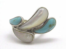 Estate Sterling Silver Mother of Pearl & Turquoise Tear Drop Ring Size 5 1/2