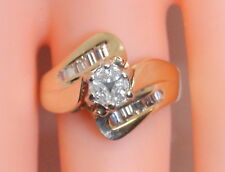WOW! UNIQUE 14K Yellow Gold .70 Ct Marquise & Baguette Diamond Wedding Ring 6.5