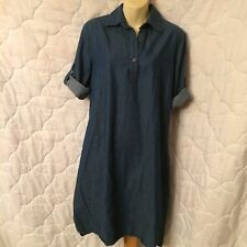 madisonleigh Womens Sz 8 Denim Style Chambray Shirt Dress Roll Up Sleeve Bars