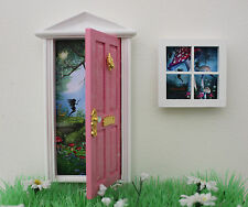 Opening pink fairy door wooden miniature tooth fairy window