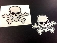 REFLECTIVE SKULL & CROSSBONES Car Motorcycle Helmet Stickers Decals 2 off 80mm