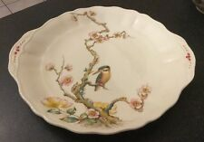 VINTAGE W.H. GRINDLEY, ENGLAND CAKE PLATE KINGFISHER BIRD & FLOWERS MARLBOROUGH
