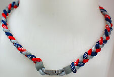 "NEW! 20"" Custom Clasp Braided Sports Gray Red Navy Blue Dark Tornado Necklace"