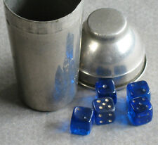 "5 Tiny Glass Dice Cobalt Blue 1/4"" with Chrome Cocktail Shaker 2.25"" Germany"