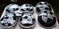 7pcs BMW 100% REAL Carbon Black White emblem set 7x hood trunk wheels 2x82/68/45