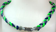 "NEW 20"" Custom Clasp Braided Sports Neon Green Navy Blue Gray Tornado Necklace"