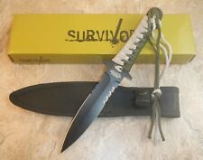 "10"" TACTICAL HUNTING Survival Black FIXED BLADE KNIFE Army Dagger w/ SHEATH"