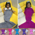 Knitted Baby Kids Crocheted Mermaid Tail Blanket Soft Handmade Bed Bag Cocoon