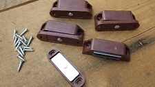 4 LARGE BROWN MAGNETIC CATCHES PLASTIC CASE CUPBOARD WARDROBE CABINET inc screws