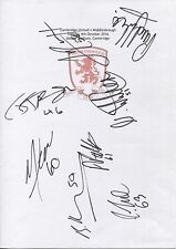 Two A4 white cards with the Middlesbrough Badge. Signed by 17 players 04.10.2016
