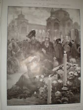 All Souls Day in a graveyard in Italy by Ximenes 1905 old print