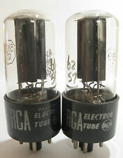 2 matched 1957-58 RCA 5Y3GT Rectifier tubes - TV-7D tested @62/57, 64/59, min:40