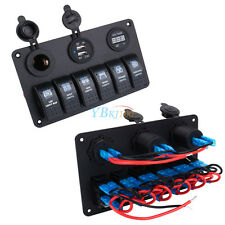 Boat Auto Waterproof 6 Gang LED Rocker Switch Panel Circuit Breakers Charger