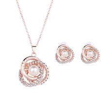 Women Jewelry Gold Filled Set Sets Earrings Necklace Pendant crystal pearl 18k