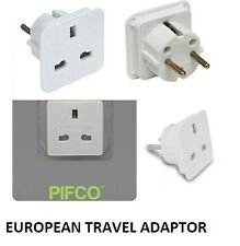 UK TO EU EUROPE EUROPEAN TRAVEL ADAPTOR PLUG  2 PIN PIFCO TRAVEL WHITE ADAPTOR