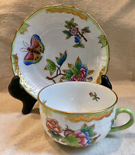 Herend QUEEN VICTORIA (GREEN BORDER) 1726 Tea Cup & Saucer 1726/VBO 12 Available