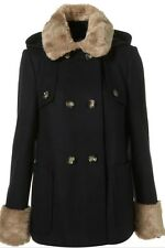 Topshop Navy Wool Vtg Fur Collar Cuff Hooded Duffle Swing Pea Coat Jacket 4 0 32