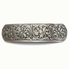 Large Antiqued Silver Flowers Barrette Ponytail Holder Vintage Style Hair Clip