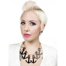 Sourpuss Anchors Aweigh Necklace Black Rockabilly Pinup Nautical
