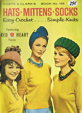 Knitting Crochet Patterns Vintage Caps Socks Mittens Hats Gloves Scarves CC 135