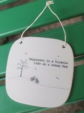 East Of India Porcelain Message Sign  Happiness is a Bicycle Ride on a Sunny Day