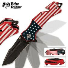 American USA Flag Assisted Opening Patriotic Folding Pocket Rescue Knife w/clip