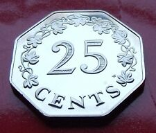 MIRROR STRUCK PROOF 1976 MALTA 25 CENTS  LOW MINTAGE MIRROR SURFACES