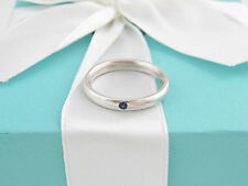 TIFFANY & CO SILVER PERETTI BLUE SAPPHIRE STACKING RING BAND SIZE 6 BOX