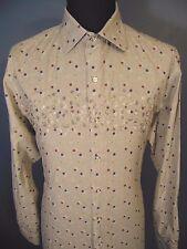 ROBERT GRAHAM SHIRT Men Size L Button Up Long Sleeve Flip Cuff Polka Dot Hipster